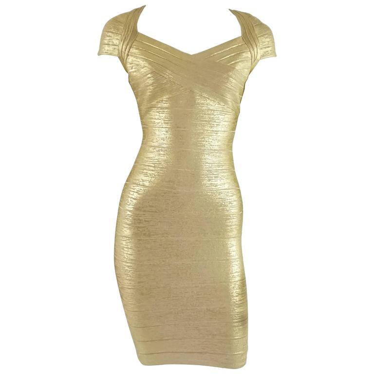 Herve Leger Metallic Gold Bandage Dress - S 1