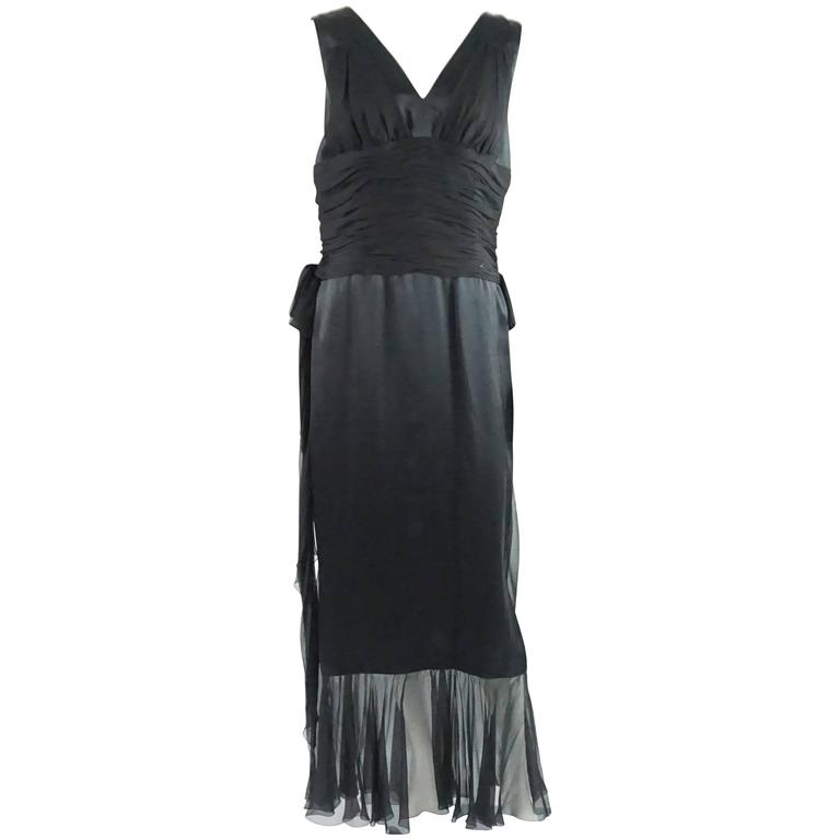 7d228d7e590 Chanel Black Silk and Silk Chiffon Sleeveless Gown - 42 - 06A For Sale
