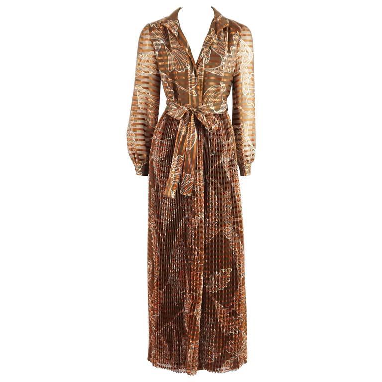 Oscar de la Renta Rust Print Silk Organza Gown - 6 - Circa 60's 1