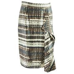 Oscar de la Renta Brown and Multi Print Silk Skirt with Ruffle - 6