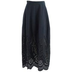 Stella McCartney Navy Cotton & Embroidered Long Skirt - 36