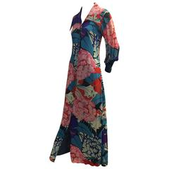 1970s La Mendola Silk Floral Print Button-Down Maxi with Sheer Sleeves