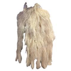 1940s Saks Fifth Avenue Cream Color Ostrich Feather Cape