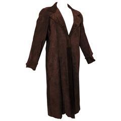 Rare Gucci Long Suede Leather Coat + Matching Skirt 2pc Set Ensemble 70s sz42