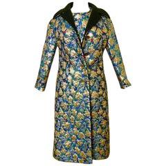 Galanos Metallic Brocade 3 piece Vest Jacket and Skirt Ensemble Suit, 1960s