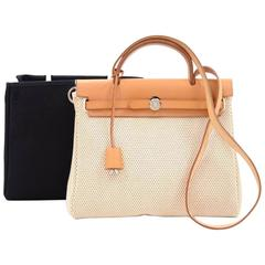 Hermes Herbag PM 2 in 1 Canvas Leather Shoulder Bag