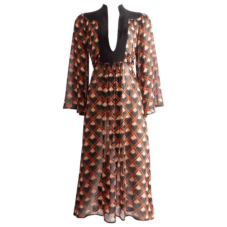 Ossie Clark chiffon mid-length dress with Celia Birtwell print, circa 1972 For Sale