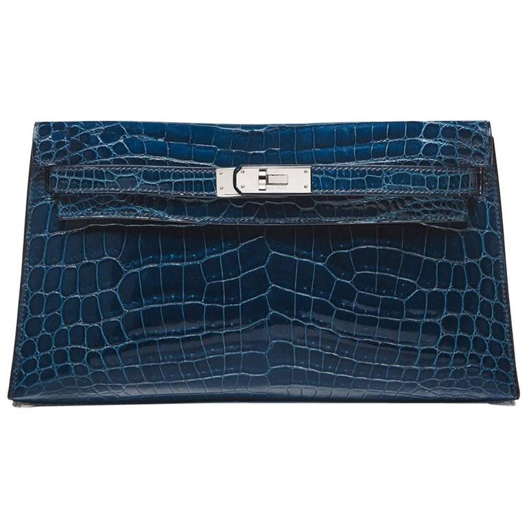 Hermes Bleu Petrole Niloticus Crocodile Kelly Pochette Elan Clutch RARE