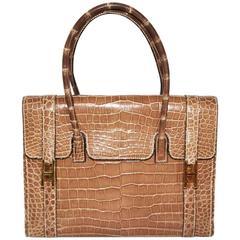 Amazing Hermes Drag porosus crocodile handbag 1981