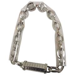 1990s MOSCHINO Silver Tone Metal Logo Lock Chain Collar Necklace