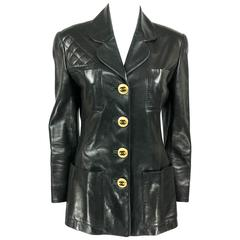 1992 Chanel Runway Look Black Leather Jacket With Quilted Shoulder