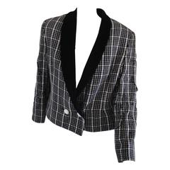 1980s Spazio Pied de Poule Black & White Wool Jacket