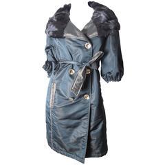 Guy Laroche Reversible Coat with Fur Trim