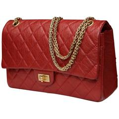 2000s Chanel 2-55 Jumbo Size Red Leather and Gilt Hardware Handbag