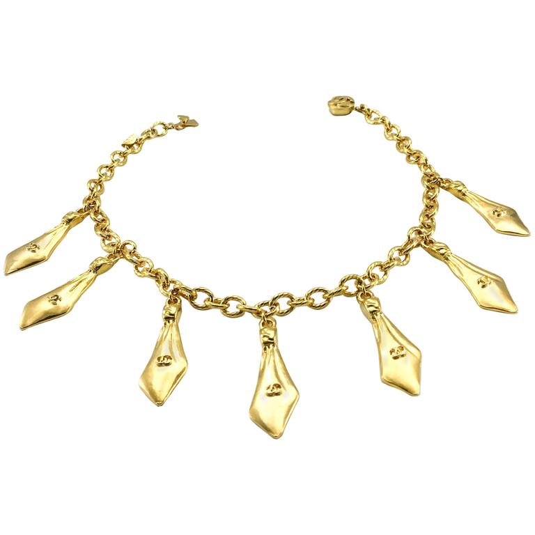 1970s Chanel Gilt Ties Chain Necklace 1