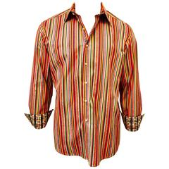 Men's Robert Graham Multi Colour Stripe Shirt with Contrast Cuff and Collar