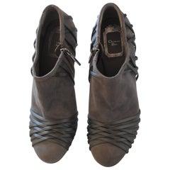Christian Dior Grey Velvet Leather ankle boot