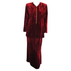 1980 Brujò Red Velvet Skirt Suit