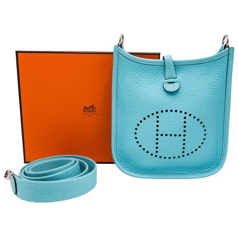 Hermès Blue Atolle 16 Mini Evelyne Clemence Cross Body Bag