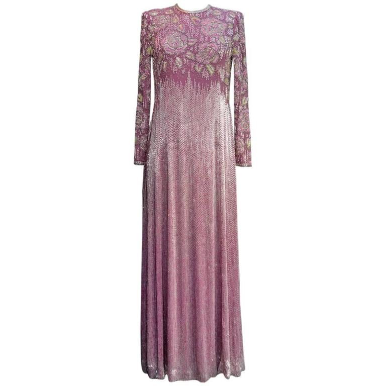 1975s Jean Louis Scherrer Long Iridescent Violet Beaded Gown