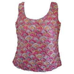 1980s Vintage Pink Gold Silver Shirt