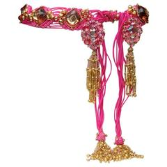 Late 1970s Yves Saint Laurent Pink Passementerie Crystals and Tassels Belt