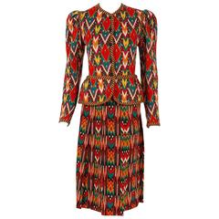 1979 Yves Saint Laurent Documented Navajo Ikat Wool Knit Peplum Jacket Skirt Set