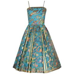 1950's Sophie Gimbel Metallic Turquoise Paisley Indian-Silk Full Party Dress
