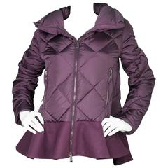 Moncler Eggplant Quilted Puffer Coat w/ Ruffle z 1