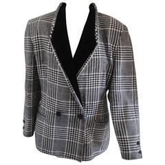 Emporio Armani Pied de Poule Black White wool velvet Jacket