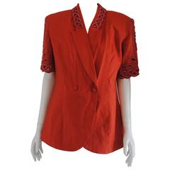 Luca Giordani orange linen beads Jacket