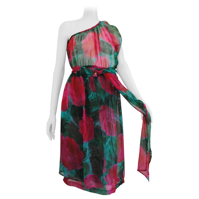 1980s Vintage Green Flower §One Shoulder Dress