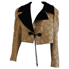 1970s Loretta di Lorenzo Gold and black Velvet Wool Silk Jacket