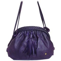 Vintage BALLY deep purple, violet leather pouch, clutch style shoulder bag.