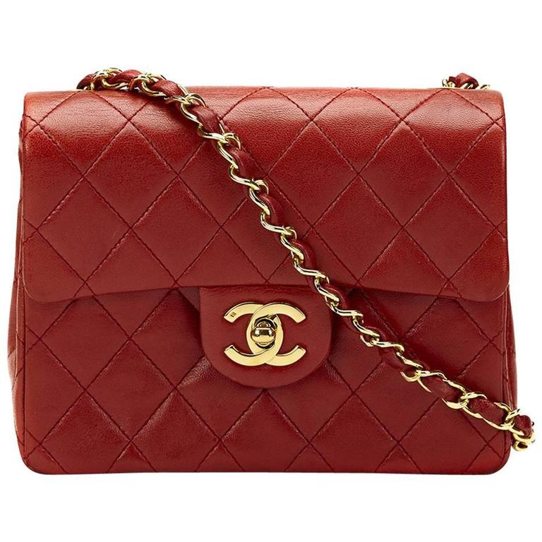 9eadff39b3b9 1980s Chanel Red Quilted Lambskin Vintage Mini Flap Bag at 1stdibs