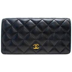 Chanel 'Double Wallet' Black Leather & Gold Hardware