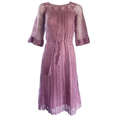 Beautiful 1970s Hand Crochet Pink Rose Bell Sleeve Chic Boho 70s Vintage Dress