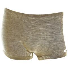 Vintage Pierre Cardin 1970s Gold Metallic Sexy 70s Disco Hot Pants / Shorts