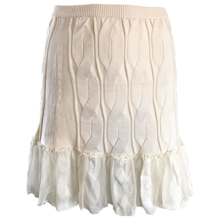 1990s Calvin Klein Collection Ivory Silk Mini Skirt Or Strapless Top Unworn 90s