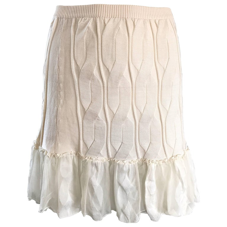 1990s Calvin Klein Collection Ivory Silk Mini Skirt Or Strapless Top Unworn 90s For Sale