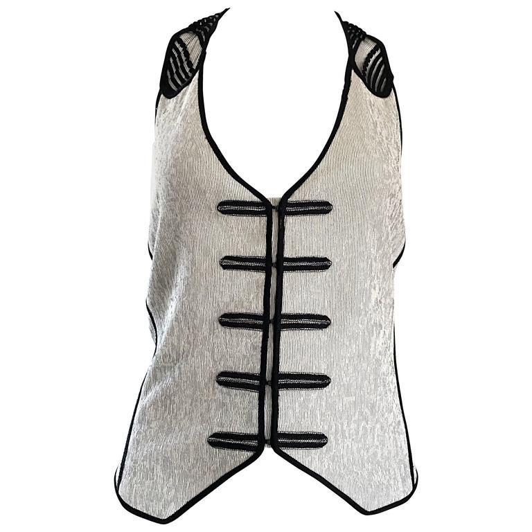 New Richard Chai Black and White Military + Bondage Inspired Waistcoat Vest Top For Sale
