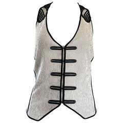 New Richard Chai Black and White Military + Bondage Inspired Waistcoat Vest Top