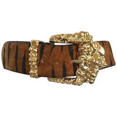 Fabulous 1990s Tiger Animal Print Oversized Vintage 90s Belt w Large Gold Buckle