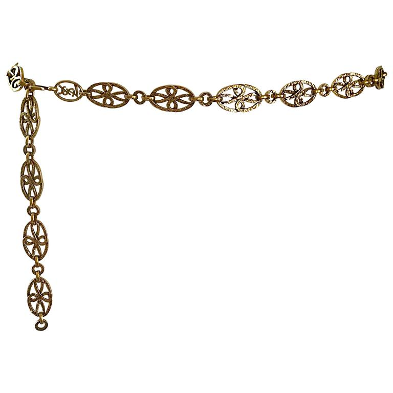 Rare 1970s Yves Saint Laurent Gold Meadillion YSL Vintage Chain Belt or Necklace For Sale