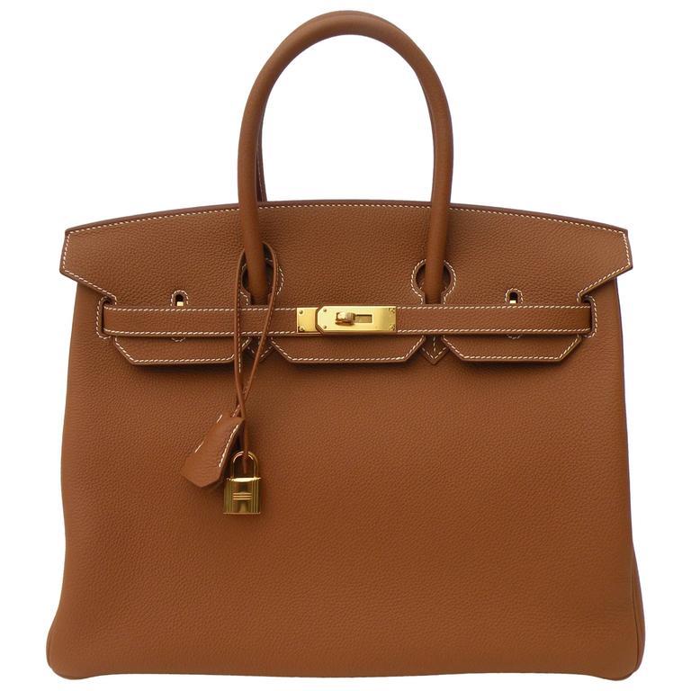 Hermes Birkin Bag 35cm Gold Togo Gold Hardware Horseshoe  1