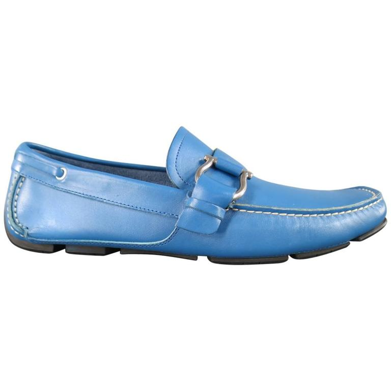 Men's SALVATORE FERRAGAMO Size 8 Teal Blue Leather Giancini Driver Loafers 1