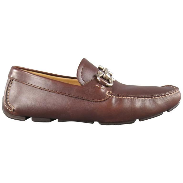 c02256683fa7 Men s SALVATORE FERRAGAMO Size 7.5 Brown Leather Gancini Horsebit Driver  Loafers For Sale