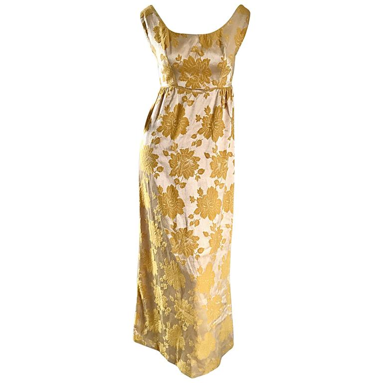 Beautiful 1960s 60s Marigold Yellow Gold Metallic Floral Evening ...