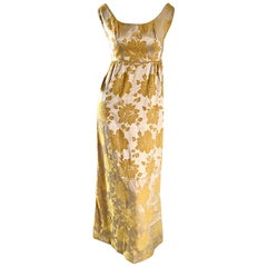 Beautiful 1960s 60s Marigold Yellow Gold Metallic Floral Evening Gown Maxi Dress