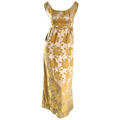Beautiful 1960s 60s Marigold Yellow Gold Metallic Floral Evening Gown Maxi Dress